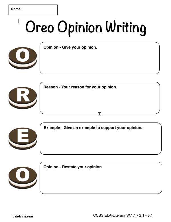 iPad Graphic Organizer - Oreo Opinion Writing | K-5 ...