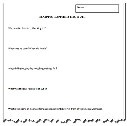 Math Worksheets » Martin Luther King Math Worksheets - Preschool ...