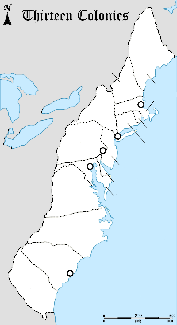Thirteen Colonies Map for Labeling  K5 Computer Lab Technology