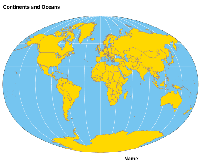 Arts arts world map continents oceans world map for labeling world map continents oceans gumiabroncs Image collections