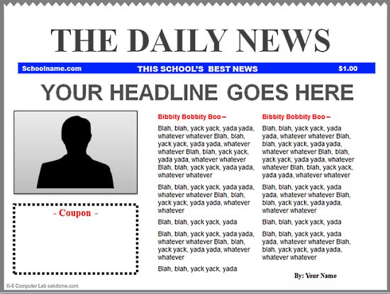 Powerpoint Newspaper Templates K 5 Computer Lab