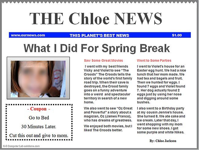 Powerpoint newspaper templates k 5 computer lab for Create your own newspaper template