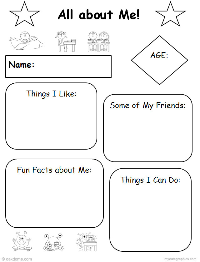 All About Me Common Core Graphic Organizer | K-5 Computer Lab