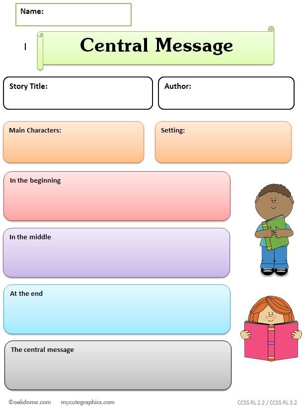 graphic organizer - central message - lesson learned