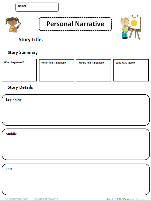 personal narrative graphic organizer ms word