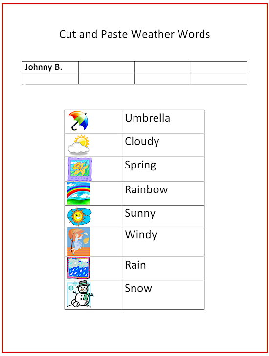 Cut And Paste Weather Words K 5 Computer Lab Technology Lessons