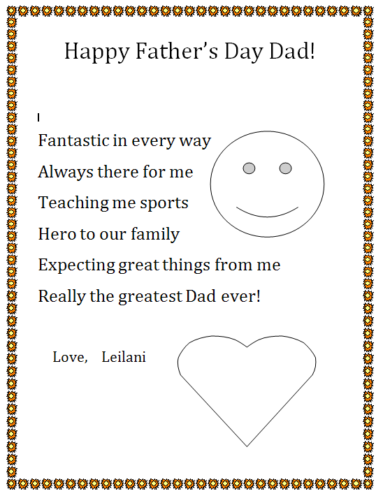 Happy Fathers Day Acrostic  K5 Computer Lab
