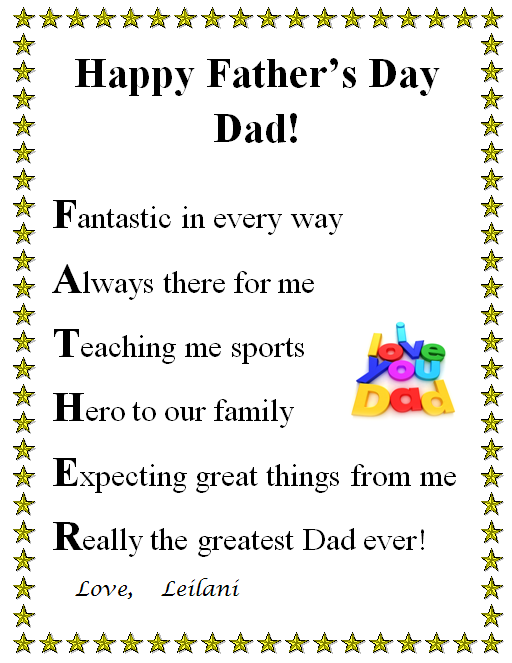 fathers day acrostic letter