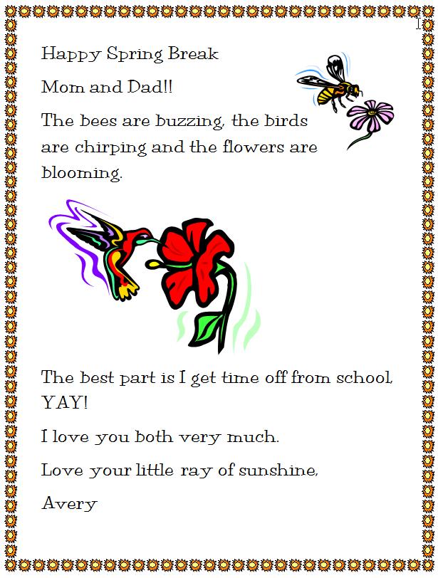 happy spring break letter writing
