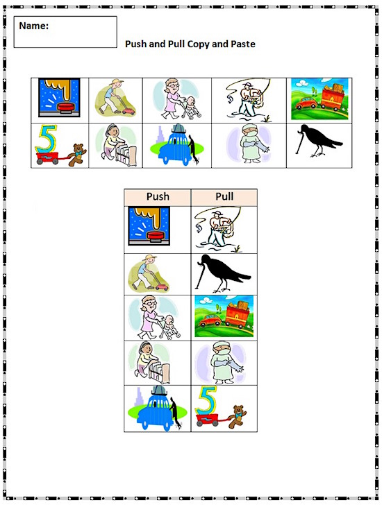 Copy and Paste Practice Pushing and Pulling – Forces and Motion Worksheet