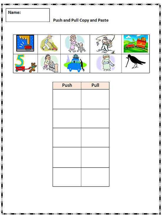 Worksheets Push And Pull Worksheets For 3rd Grade copy and paste practice pushing pulling k 5 computer lab sheet