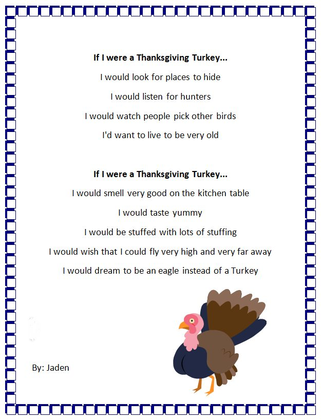Thanksgiving Turkey Personification - Poem Generator