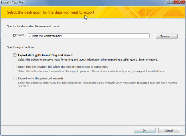 MS Access Export Specifications and CSV Files