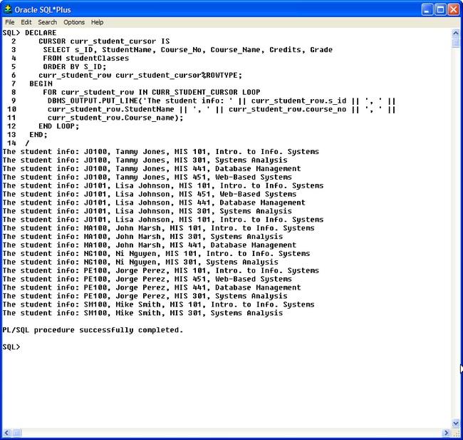 Oracle SQL *Plus PL/SQL Cursors