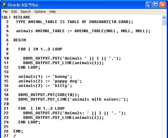 PL/SQL Nested Tables