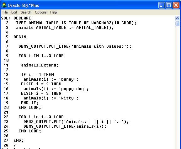 Oracle cursor for in loop