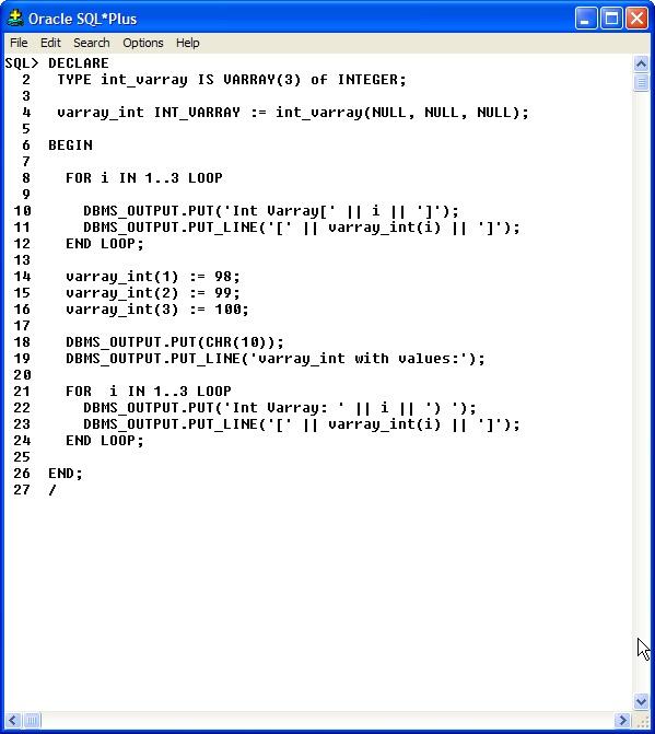 PL\SQL varray types