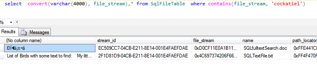 SQL FileTables and Full Text Search