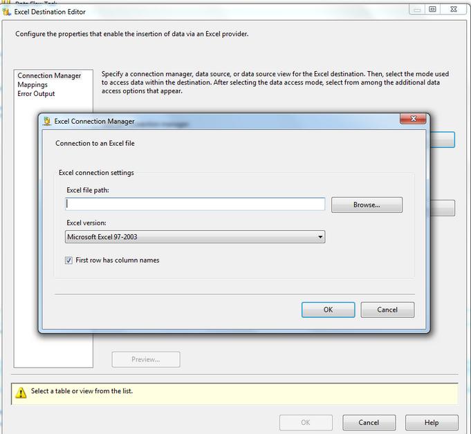 SSIS Data Transform Task SQL to Excel File