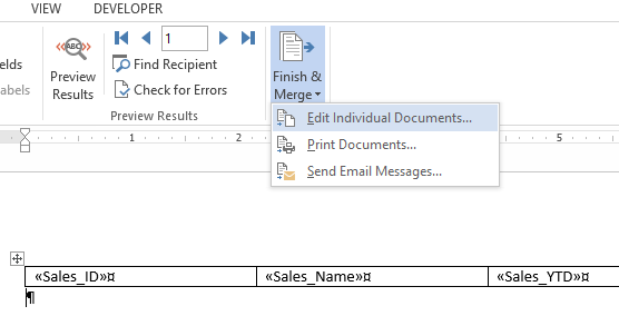MS Word Table Data Merge Rows