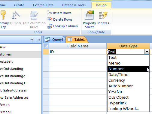 Ms access using dao creating tables and indexes and for Sql server table design query
