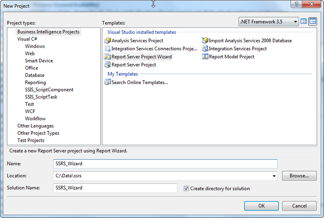 SQL Server Reporting Services - Wizard